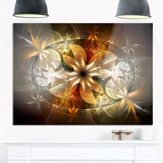 Fractal Flower with Blue Details - Floral Digital Art Glossy Metal Wall Art