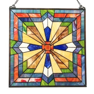 River of Goods Southwest Sunburst Multicolor Stained Glass 18-inch Tiffany-style Window Panel