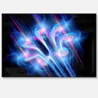 Blue Fractal Flower in Space - Floral Digital Art Glossy Metal Wall Art