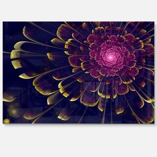 Fractal Flower with Yellow Details - Floral Digital Art Glossy Metal Wall Art