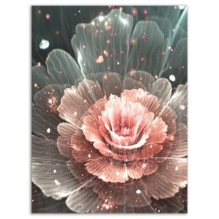Abstract Fractal Pink Gray Flower - Floral Digital Art Glossy Metal Wall Art