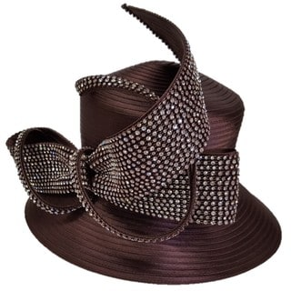 Brown Swan Hat with Rhinestone Embellished Bow