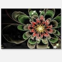 Abstract Green Fractal Flower - Floral Digital Art Glossy Metal Wall Art
