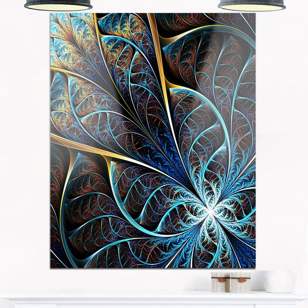 Abstract Brown Fractal Flower - Floral Digital Art Glossy Metal Wall Art