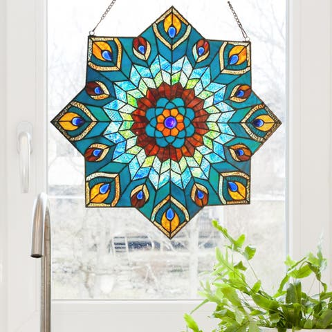 "24-inch Tiffany-style Stained Glass Peacock Star Window Panel - 24""L x 0.25""W x 24""H"