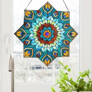 24-inch Tiffany-style Stained Glass Peacock Star Window Panel