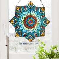 """24-inch Tiffany-style Stained Glass Peacock Star Window Panel - 24""""L x 0.25""""W x 24""""H"""