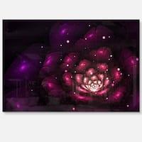 Abstract Fractal Violet Flower - Floral Digital Art Glossy Metal Wall Art