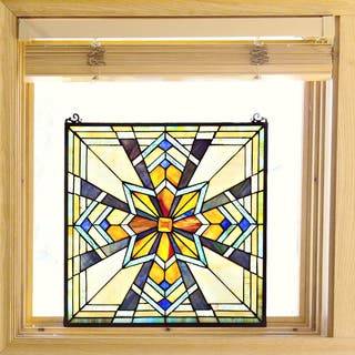 Tiffany Stained Glass 18-inch Northern Star Window Panel - M