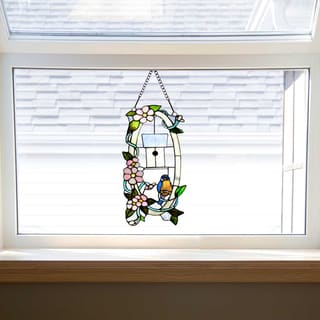 Multicolor Stained Glass 18-inch Home Sweet Tweet Window Panel