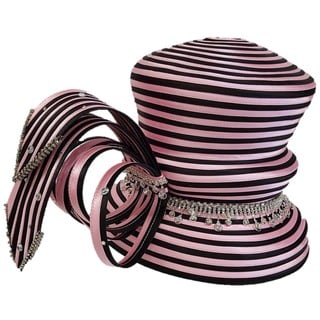 Swan Hat Designer Couture Year-round Pink/Black Satin Ribbon Hat