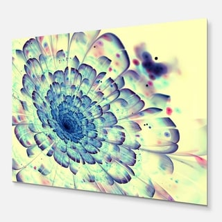 Blue Fractal Flower with Red Details - Digital Art Glossy Metal Wall Art