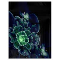 Green Abstract Fractal Flower - Floral Digital Art Glossy Metal Wall Art