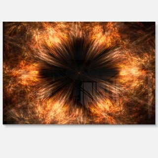 Fractal Black Brown Flower - Abstract Floral Glossy Metal Wall Art