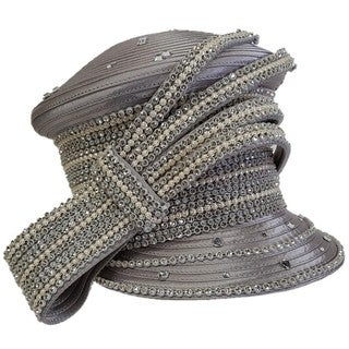 Swan Satin Ribbon Rhinestone Designer Couture Hat