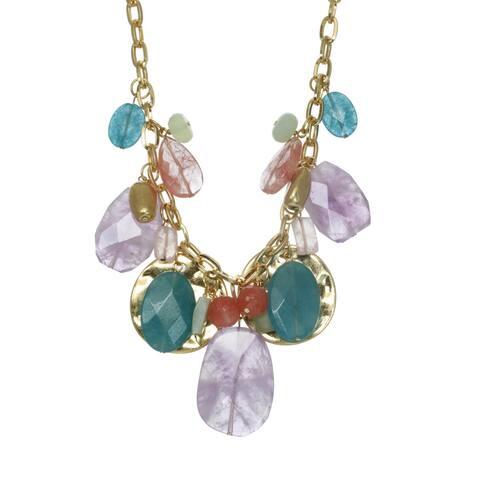 Pink & Green Gemstone Disc Necklace - multi