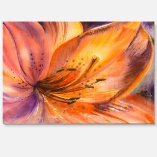 Orange Lily Flower - Art Floral Glossy Metal Wall Art