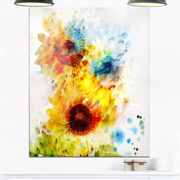 Expressive Sunflowers - Floral Watercolor Glossy Metal Wall Art ...