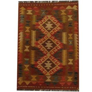 Herat Oriental Afghan Hand-woven Tribal Wool Kilim (2'1 x 2'11)