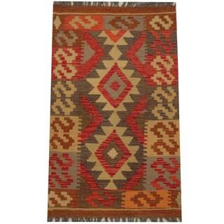 Herat Oriental Afghan Hand-woven Tribal Wool Kilim (2' x 3'3)