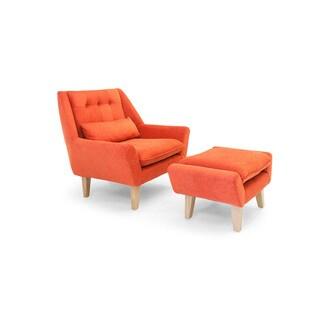 Kardiel Stuart Mid-century Modern Plush Micro-velvet Lounge Chair and Ottoman