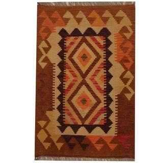 Herat Oriental Afghan Hand-woven Tribal Kilim (1'11 x 2'11)