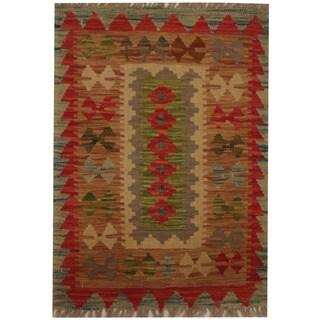Handmade Herat Oriental Afghan Tribal Wool Kilim (Afghanistan) - 1'11 x 2'8