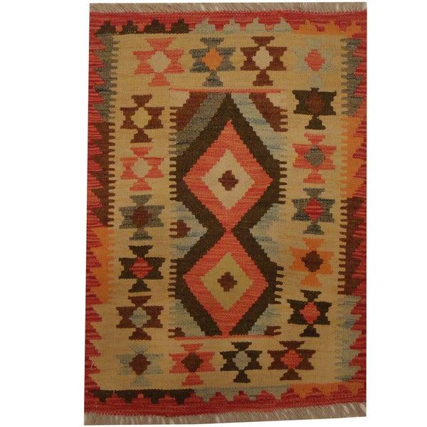 Herat Oriental Afghan Hand-woven Tribal Wool Kilim - 2'1 x 3'