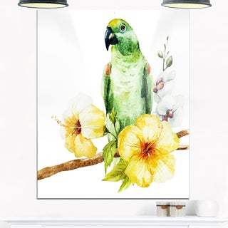 Parrot with Flowers Watercolor - Floral Painting Glossy Metal Wall Art