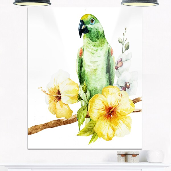 Parrot with Flowers Watercolor - Floral Painting Glossy Metal Wall ...