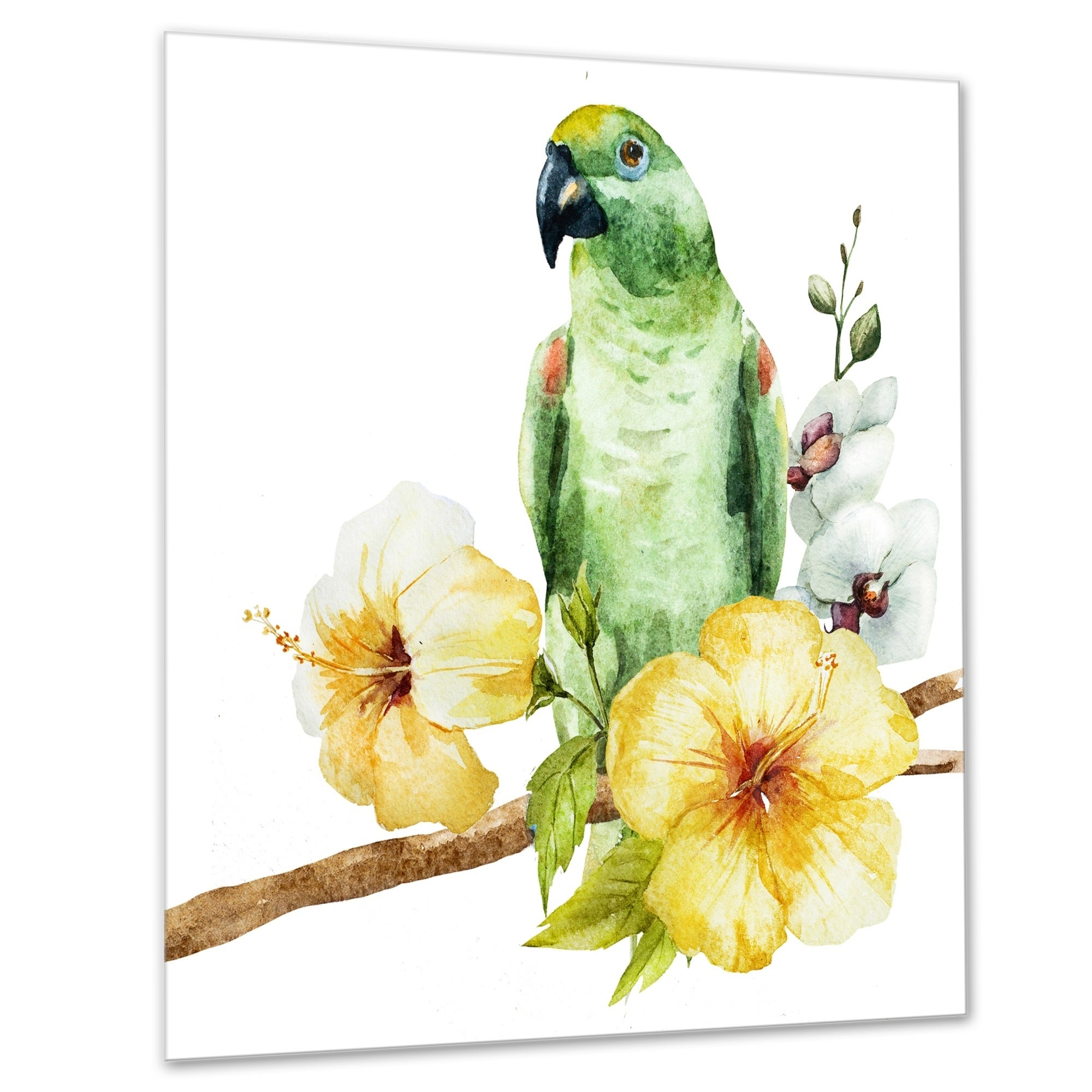 Shop Parrot With Flowers Watercolor Floral Painting Glossy Metal