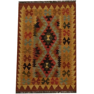 Herat Oriental Afghan Hand-woven Tribal Wool Kilim (2'2 x 3'3)