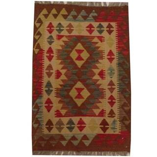 Herat Oriental Afghan Hand-woven Tribal Wool Kilim (2'1 x 3'1)