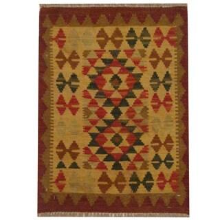 Herat Oriental Afghan Hand-woven Tribal Wool Kilim (1'11 x 2'8)