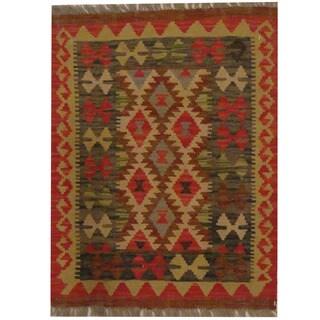 Herat Oriental Afghan Hand-woven Tribal Wool Kilim (2'1 x 2'9)