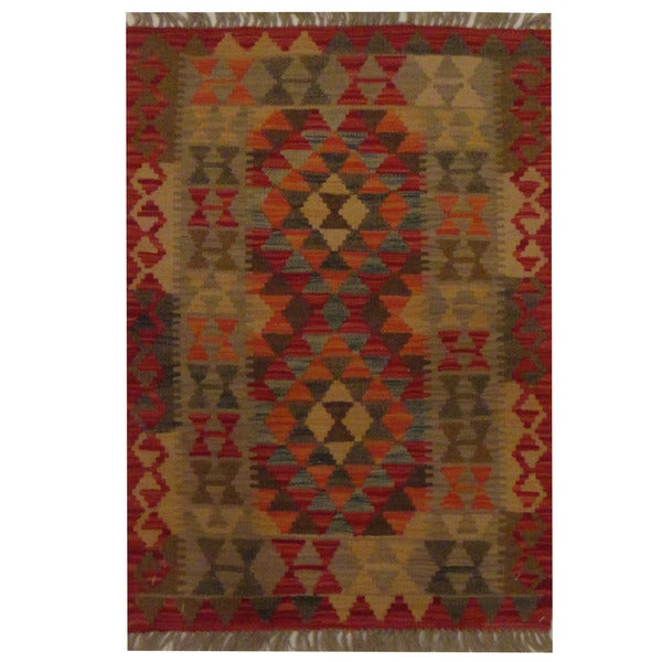 Herat Oriental Afghan Hand-woven Tribal Wool Kilim - 2' x 2'10
