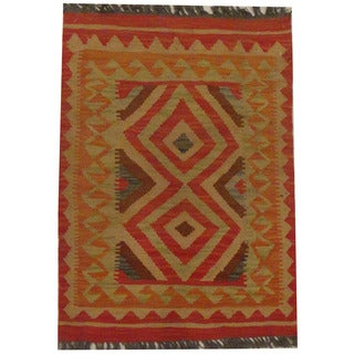 Herat Oriental Afghan Hand-woven Tribal Wool Kilim (2'1 x 2'10)