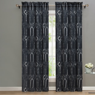 Nikki Chu MIdnight Geometric Pattern Window Curtain Panel Pair