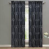 Nikki Chu MIdnight Geometric Pattern Window Curtain Panel Pair - 42 x 84