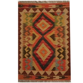 Herat Oriental Afghan Hand-woven Tribal Wool Kilim (1'10 x 2'8)