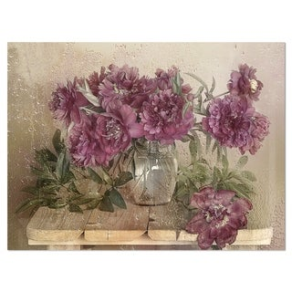 Bouquet of Pink Peonies - Floral Glossy Metal Wall Art