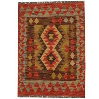 Herat Oriental Afghan Hand-woven Tribal Wool Kilim (2'3 x 3')