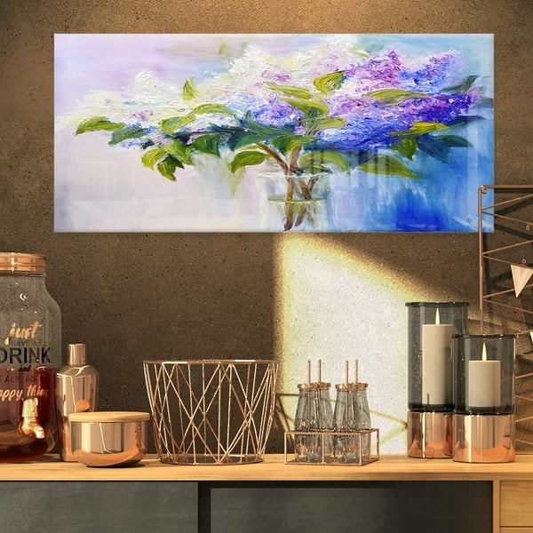 Blue And White Lilacs In Vase Floral Glossy Metal Wall Art Overstock 12778048