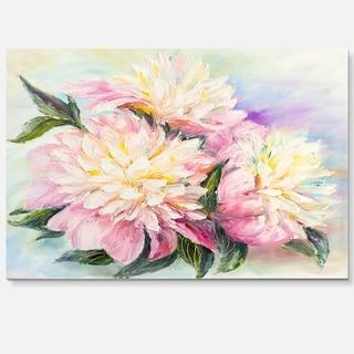 Blooming Pink Peonies - Floral Glossy Metal Wall Art