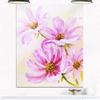 Blooming Pink Cosmos Flowers - Floral Glossy Metal Wall Art