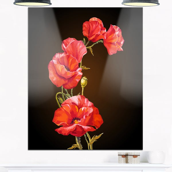 Floral Glossy Metal Wall Art