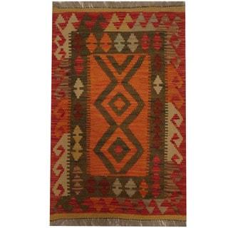 Herat Oriental Afghan Hand-woven Tribal Wool Kilim (1'11 x 3')