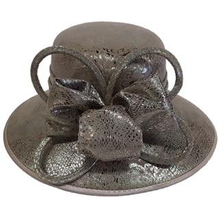 Hatch Swan Hat Chocolate Metallic Leather Blocked Church Hat
