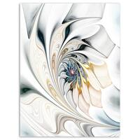 White Stained Glass Floral Art - Large Floral Glossy Metal Wall Art