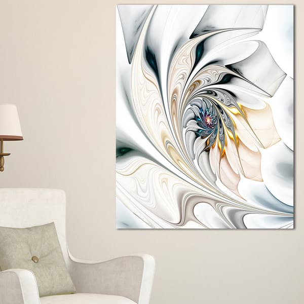 Shop White Stained Glass Floral Art Large Floral Glossy Metal Wall